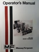 Massey Ferguson Mf 14 Garden Tractor Snow Thrower Mf-520 Implement Owners Manual