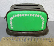 Vintage 1960s Tin Litho Green Toaster, 4.5 Inch, Doll House Very Cool Home Decor