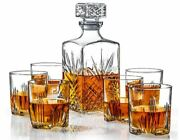 New James Scott 7-piece Set Italian Crafted Glass Decanter And 6 Whisky Glasses