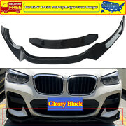 Front Bumper Lip Body Kit For Bmw X3 G01 X4 G02 M Sport 2018-up Gloss Black Abs