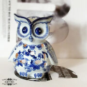 5.1 Chinese Blue And White Porcelain Bird Of Minerva Censer Figurines Statues