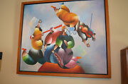 Colorful Cubist Abstract Oil On Canvas By M. Chapot - Musicians