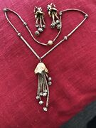 Vogue Jlry Gold Tone Tassel Pendant Statement Necklace 24 And Clip On Earrings