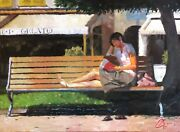 Reading By The Gelato Shop Christopher Clark Impressionist Original Oil Painting