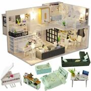 Childrenand039s Toy Miniature Doll House With Furniture Wooden And Paper Material New