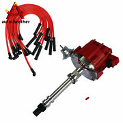 Hei Distributor And 90 Spark Plug Wires Red 10.5 Mm For Sbc Bbc 305 350 454 V8