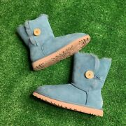 Ugg Bailey Button Ii Geyser Blue Suede Fur Boots Womens Size 7 Msrp 175