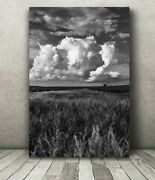 Metal Vertical Black And White Iowa Country Landscape Photography Wall Art