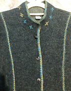 207. Peruvian Connection Alpaca Wool Sweater Cardigan Coat Embroidered L Green