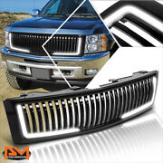 For 07-13 Chevy Silverado 1500 Vertical Fence Front Bumper Grill Frame W/led Drl