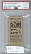 1938 Yankees Ticket- Lou Gehrig Hits 2 Home Runs- His Final 2 Hr Day Psa