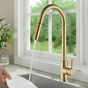 Brushed Gold Swivel Kitchen Sink Faucet Pull Out Sprayer Single Handle Mixer Tap