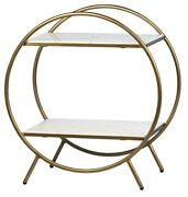 27 T Cino Trolley Round Antique Brass Metal Frame White Faux Marble Shelves