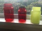 Set Of 3 Rare Syndicate Decorative Red And Green Glass Mason Jars Floral Pattern