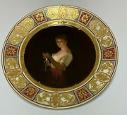 Antique Royal Vienna Porcelain Cabinet Plate 19thc Gute Nacht Signed Wagner