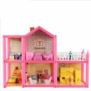 Garage Style Assembled Miniature Doll Houses For Kids Pink Plastic Materials New