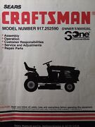 Sears Craftsman 15.5 Hp 42 Hydro Lawn Tractor 917.252590 Owner And Parts Manual