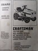 Sears Craftsman 16.5hp 43 Aws Hydro Lawn Tractor 536.252570 Owner And Parts Manual