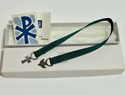 James Avery Sterling Silver Dove And Cross Green Ribbon Bookmark W/box