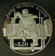 Liberia Silver Crown 20 2000 Olympic Hurdler Proof A1864