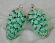 Vintage Large Pair 3.5 Christmas Pinecone Glass Ornaments - 81744