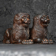 Matched Pair Of 19th Century Recumbent Carved Mahogany Lions