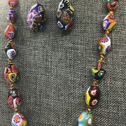Vtg Pressed Murano Glass Millefiore Olive Oval Graduated Bead Necklace Earrings