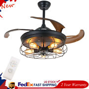 36 Inch Elegant Led Ceiling Fan Industrial Iron Cage Farmhouse Light Abs Blades