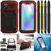 Glass Metal Silicone Hybrid Shockproof Cover + Kickstand For Iphone12 Pro Max 11