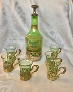 Rare Empire French Gilded Sterling Silver Green Crystal Bottle And 6 Cups Swans