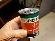 Antique Sinclair Aircraft Oil Miniature Coin Bank Can Paper Label Pre Zipcode