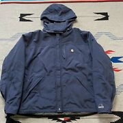 Waterproof Breathable Nylon Zip Up Jacket Size Xl Removable Hood Blue