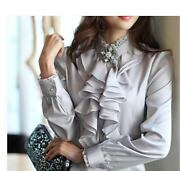 Ol Womenand039s Work Stand Collar Formal Tops High Neck Frilly Ruffle Shirt Blouse