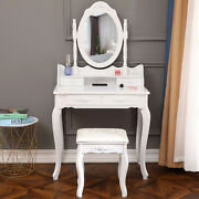 Vanity Makeup Dressing Table Set W/stool 4 Drawer And Mirror Wood Desk White