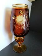 Bohemian Amber Glass Engraved To Clear And Frosted Glass Candle Holder Vase