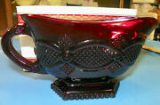 Vintage Avon Footed Serving Gravy Sauce Boat 1876 Cape Cod Ruby Red Glass Boxed