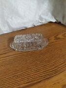 Vintage Anchor Hocking Clear Cut Glass Starburst Butter Dish