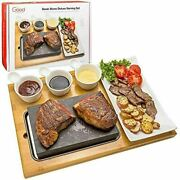 Cooking Stone Complete Set Lava Hot Steak Plate Tabletop Grill 1/8 X 5 3/16 R