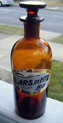Rare Apothecary Bottle Glass Over Label Orange Amber Gound Stopper