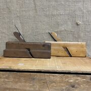 Two 2 Vintage Antique Wooden Wood Working Trim Plane Hand Tools