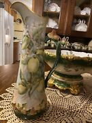 Antique Limoges Lemon Tankard Pitcher 15andrdquo Hand Painted Tandv French