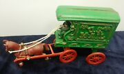 Vintage Cast Iron U.s.mail Horse And Wagon With Driver See Pictures