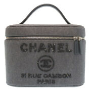 Authentic Vanity Bag Deauville Hand Bag Charcoal Gray Canvas Sequin 0215