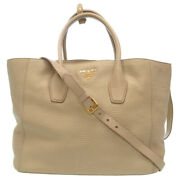 Authentic Prada Bn2694 2way Shoulder Tote Bag Gray Leather 0086