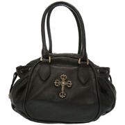 Authentic Chrome Hearts Fili Gris Cross Scrollery Tote Bag Black Leather 0266