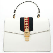 Pre-owned 431665 527066 Web Handbag White Red Navy Leather Free Shipping