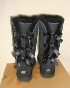 Ugg Bailey Bow Triplet Triple Tall Boots Black Suede Size Us 4 Youth = Women 6