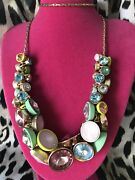 Betsey Johnson Calypso Neon Yellow Mint Pink Opal Crystal Bezel Cluster Necklace