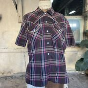 Vintage 1940s 1950s Brown And Pink Plaid Cotton Western Shirt Pearl Snap Buttons