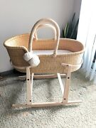 Moses Basket With Rocking Stand And Organic Bedding Plum + Sparrow Local P/u La